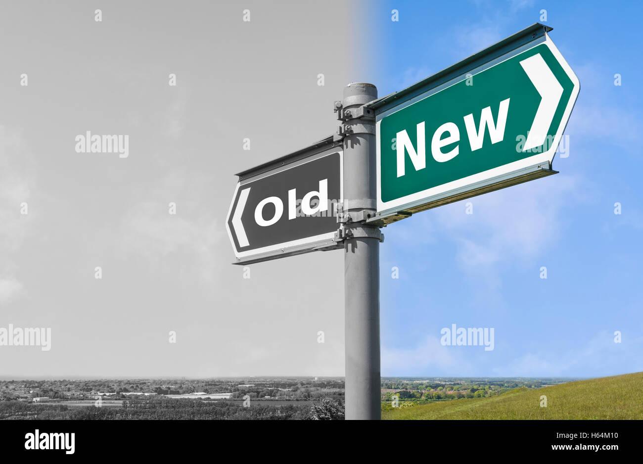 Ancien ou Nouveau concept signe. Photo Stock