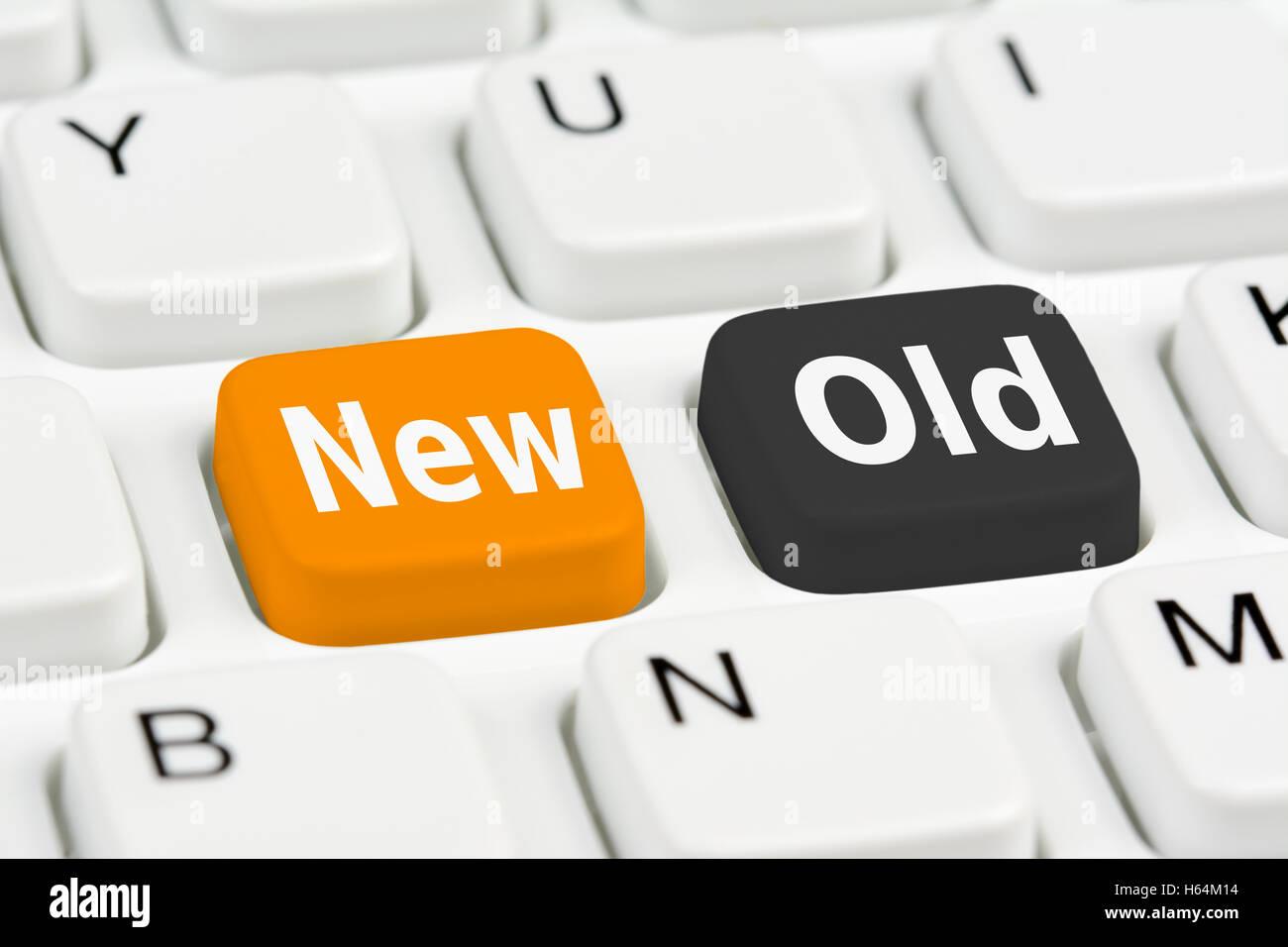 Ancien ou nouveau concept de boutons. Photo Stock