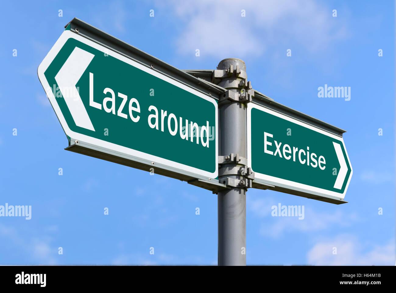 Style de vie. L'exercice ou paresseux concept signe. L'exercice de concept signe. Photo Stock