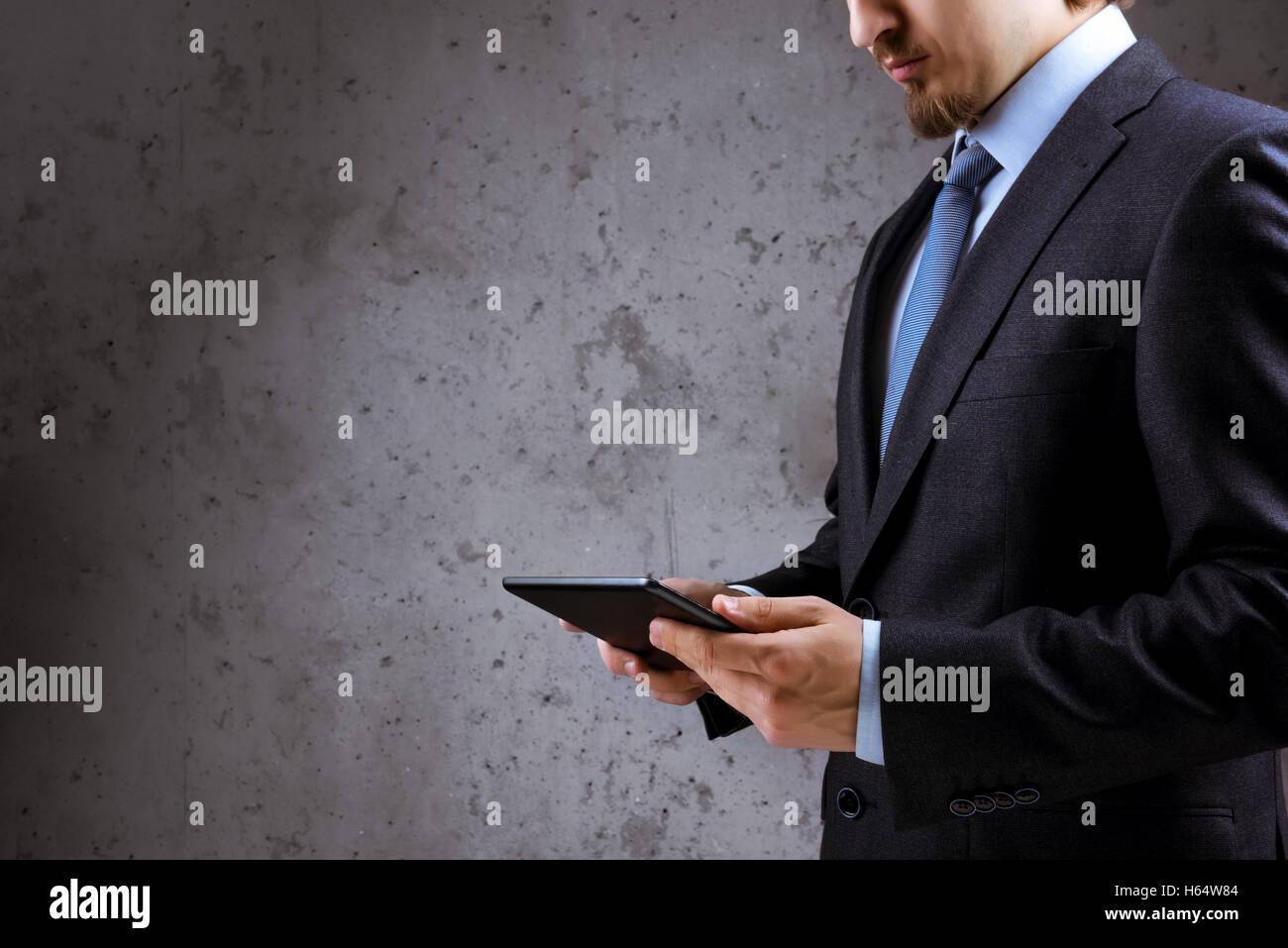 L'homme d'affaires concept tablet pc Photo Stock
