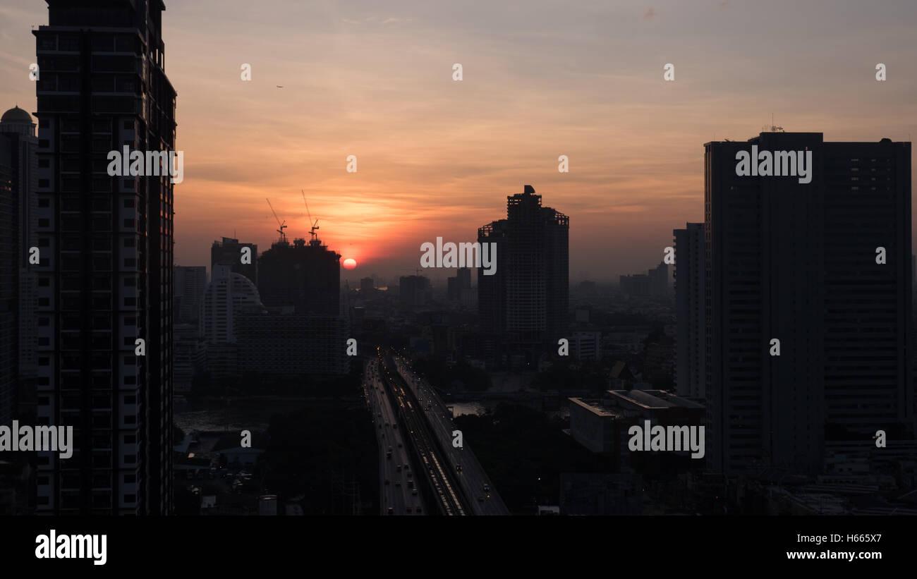 L'aube à Bangkok, Thaïlande Photo Stock