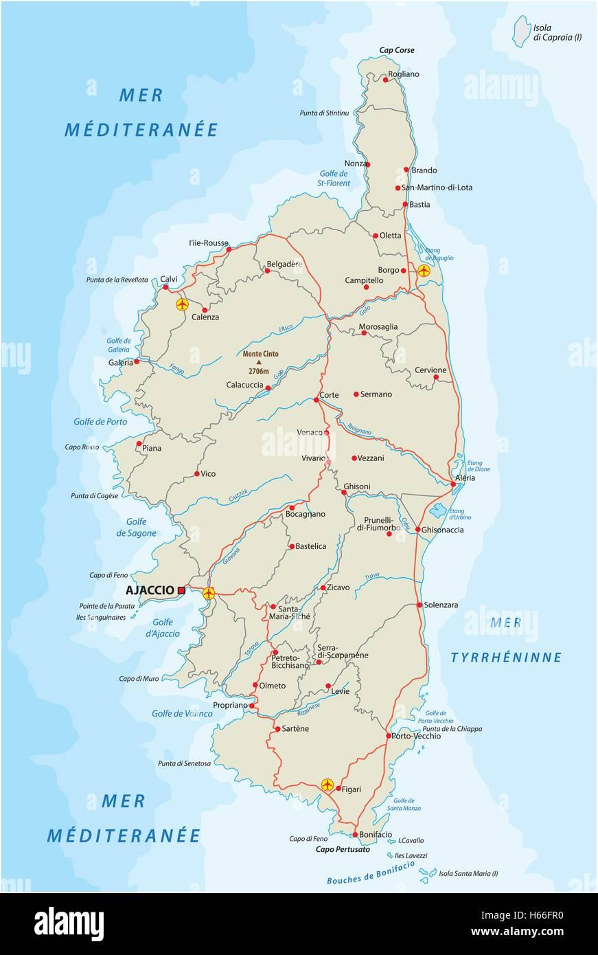 carte routiere de la corse Carte routière de l'île méditerranéenne française corse Vecteurs