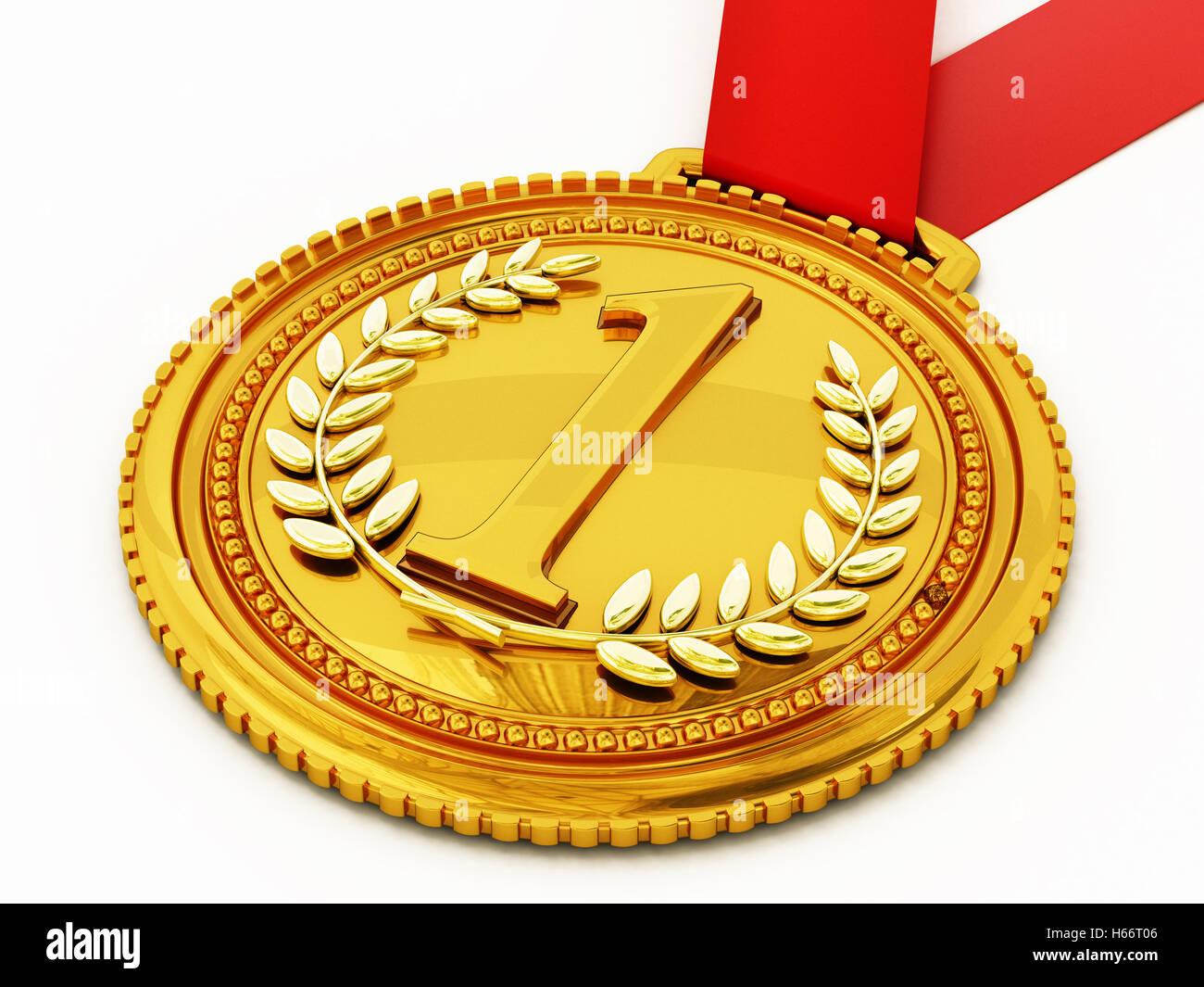 Médaille d'or avec le numéro un et lauriers. 3D illustration. Photo Stock