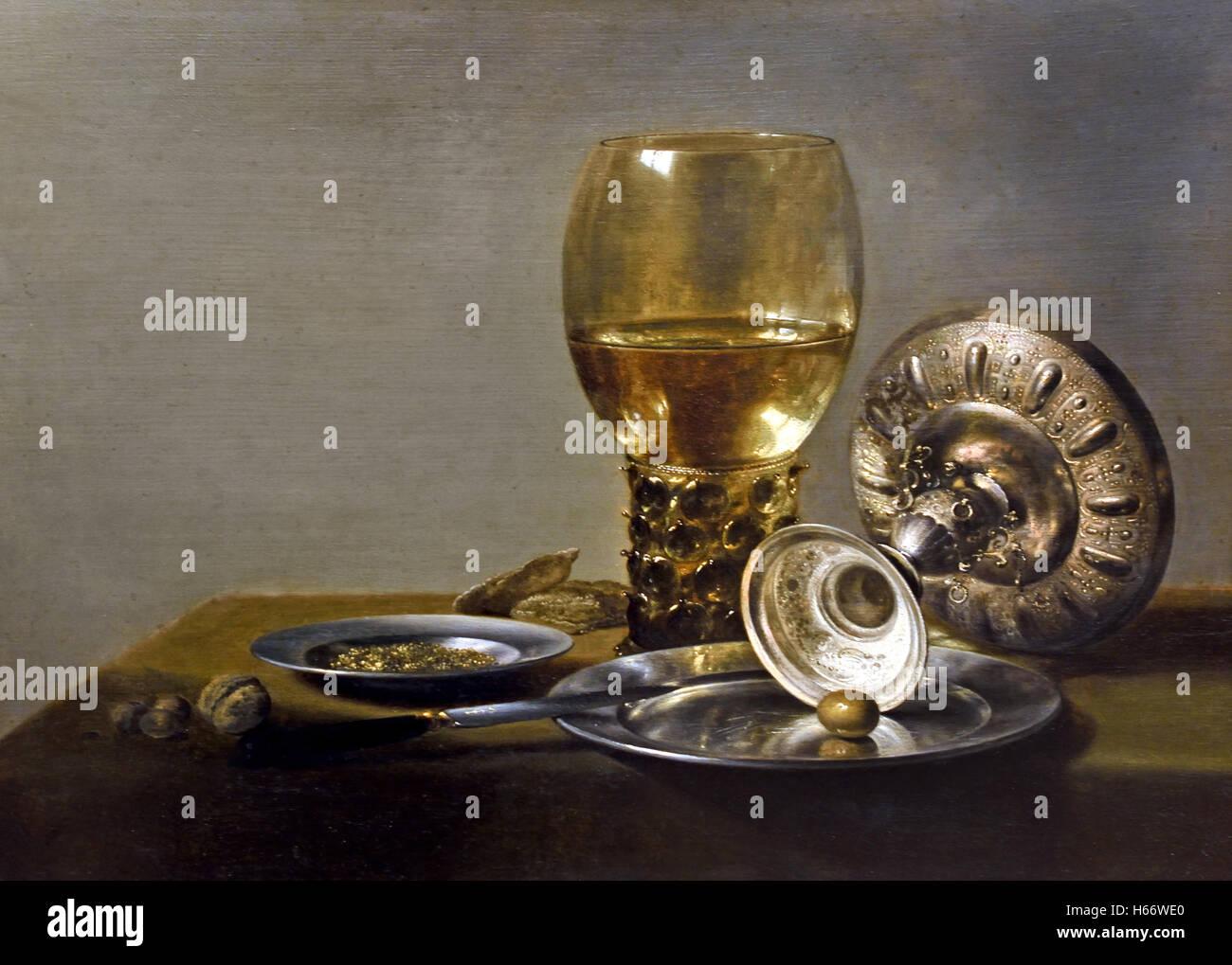 La vie toujours avec les Romains et silver shell 1635 Pieter Claesz.1597-1660 Haarlem Pays-Bas néerlandais Photo Stock