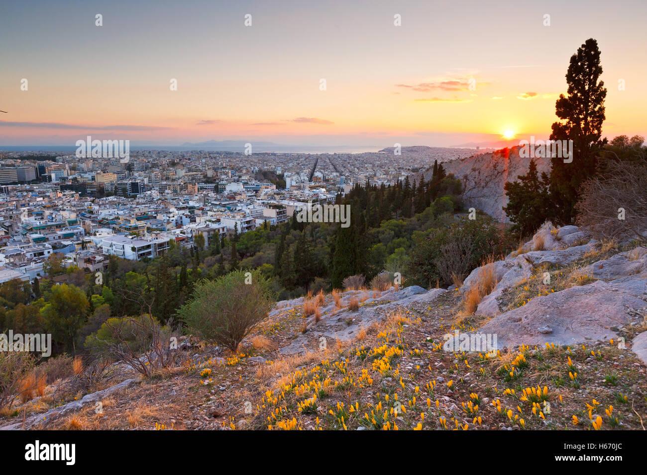 Soir sur Athènes à partir de la colline Filopappou, Grèce. Photo Stock