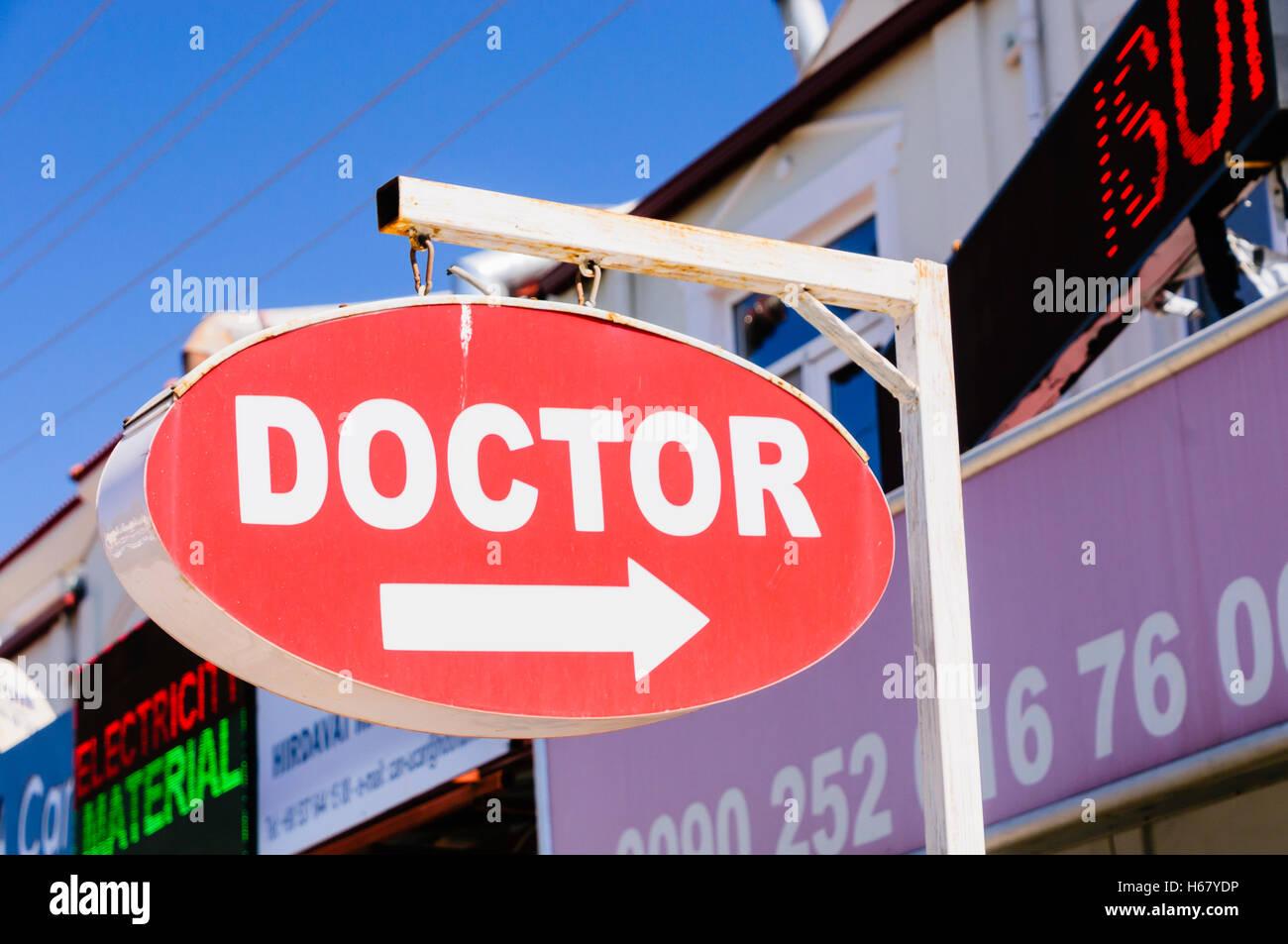 Panneau rouge pour un cabinet médical. Photo Stock