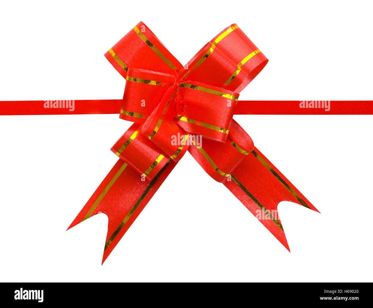 Fancy Red Bow actuelle isolé sur fond blanc. Photo Stock