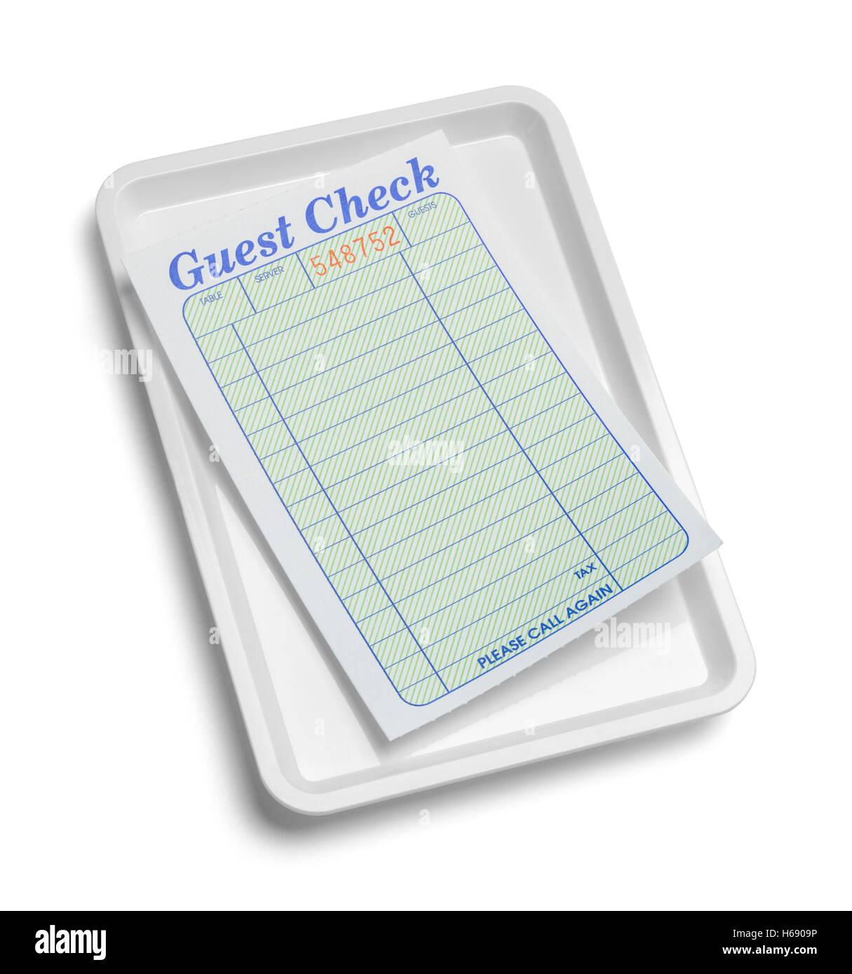 Bac de réception avec vérification d'un client blanc isolé sur fond blanc. Photo Stock