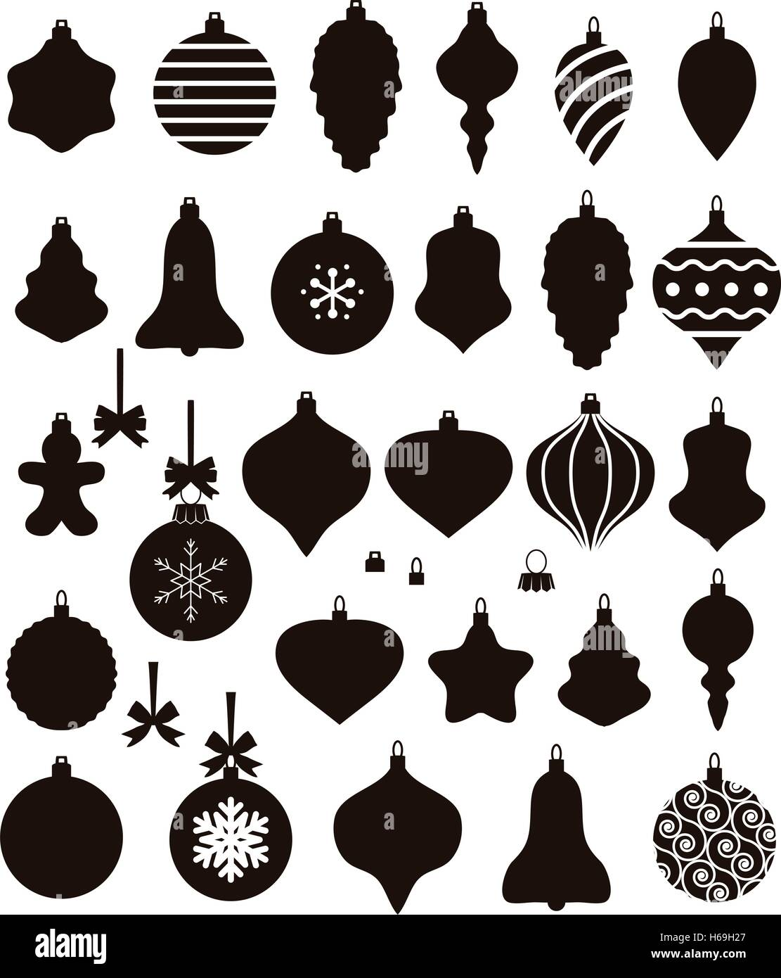 Vector Noir Et Blanc Collection De Boule De Noël De Formes
