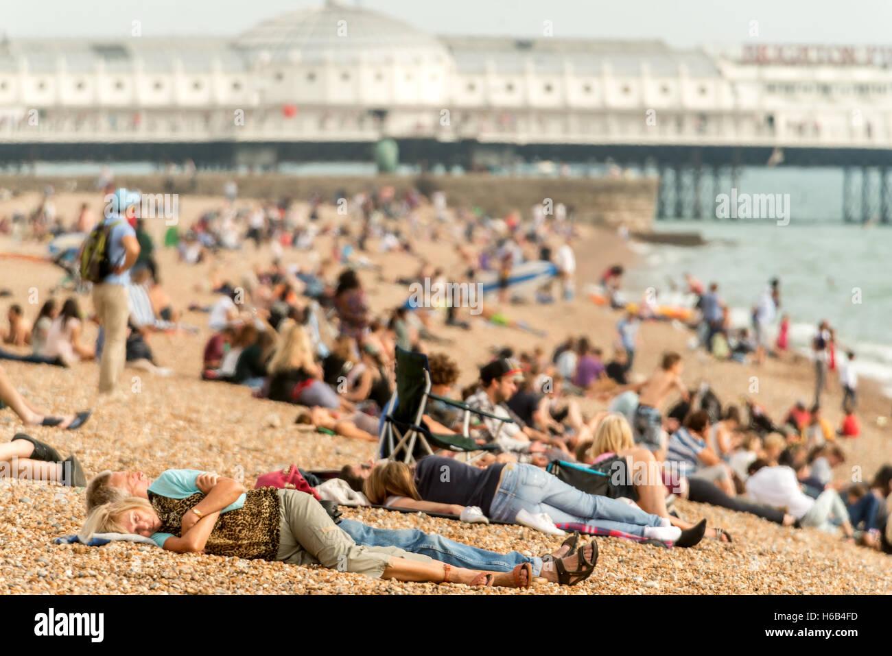 Les surfers et les baigneurs sur la plage de Brighton Photo Stock