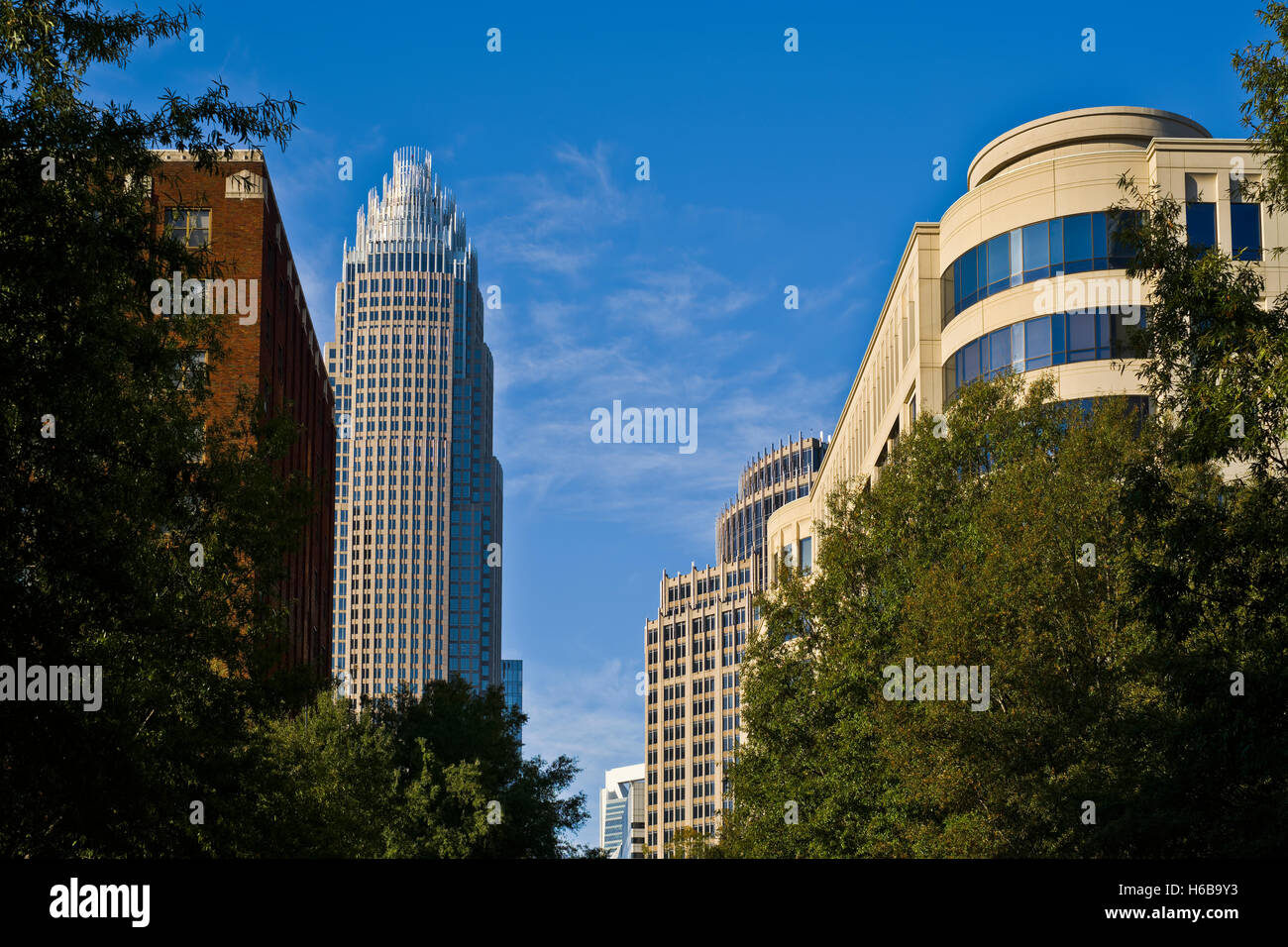 L'architecture, bâtiments dans la ville de Charlotte, NC Photo Stock