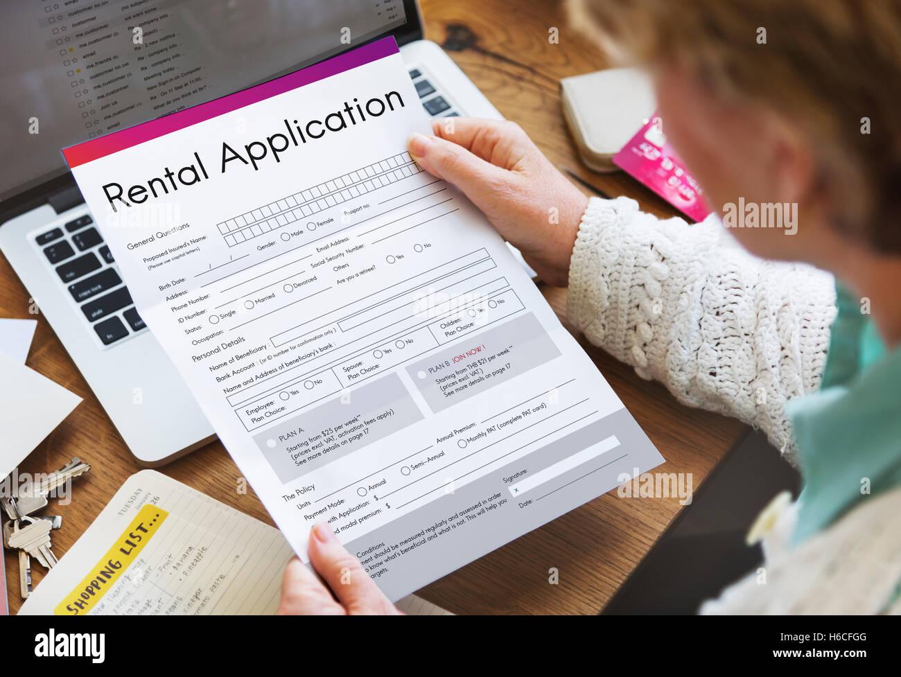 Demande de location s'appliquent emprunter locative Louer Concept Banque D'Images