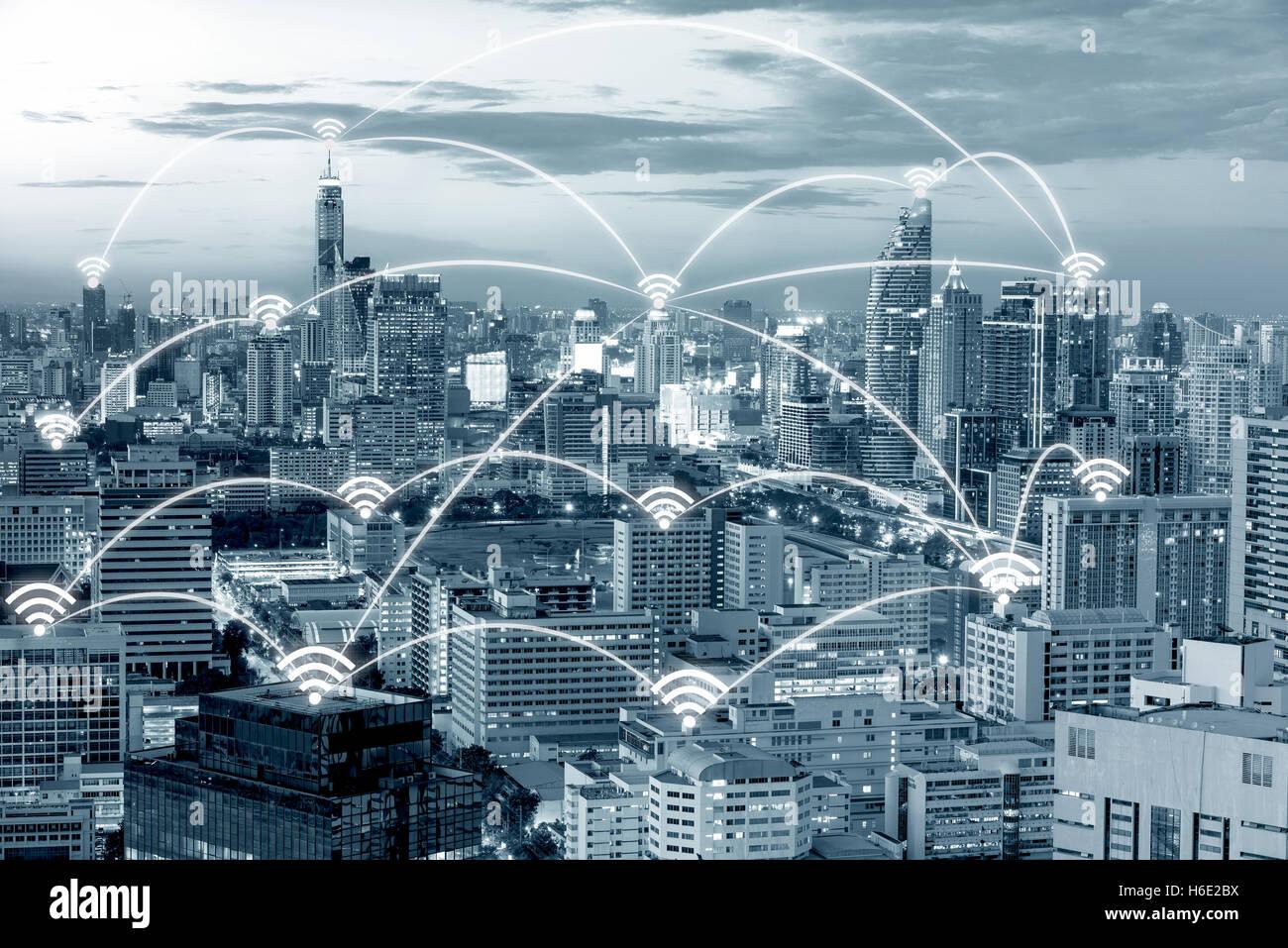 Connexion Wi-Fi au réseau local de la ville de Bangkok et l'icône de connexion réseau avec concept, Photo Stock