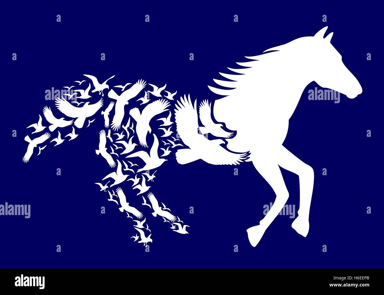 Cheval blanc avec le vol d'oiseaux sur fond bleu foncé, vector illustration Photo Stock