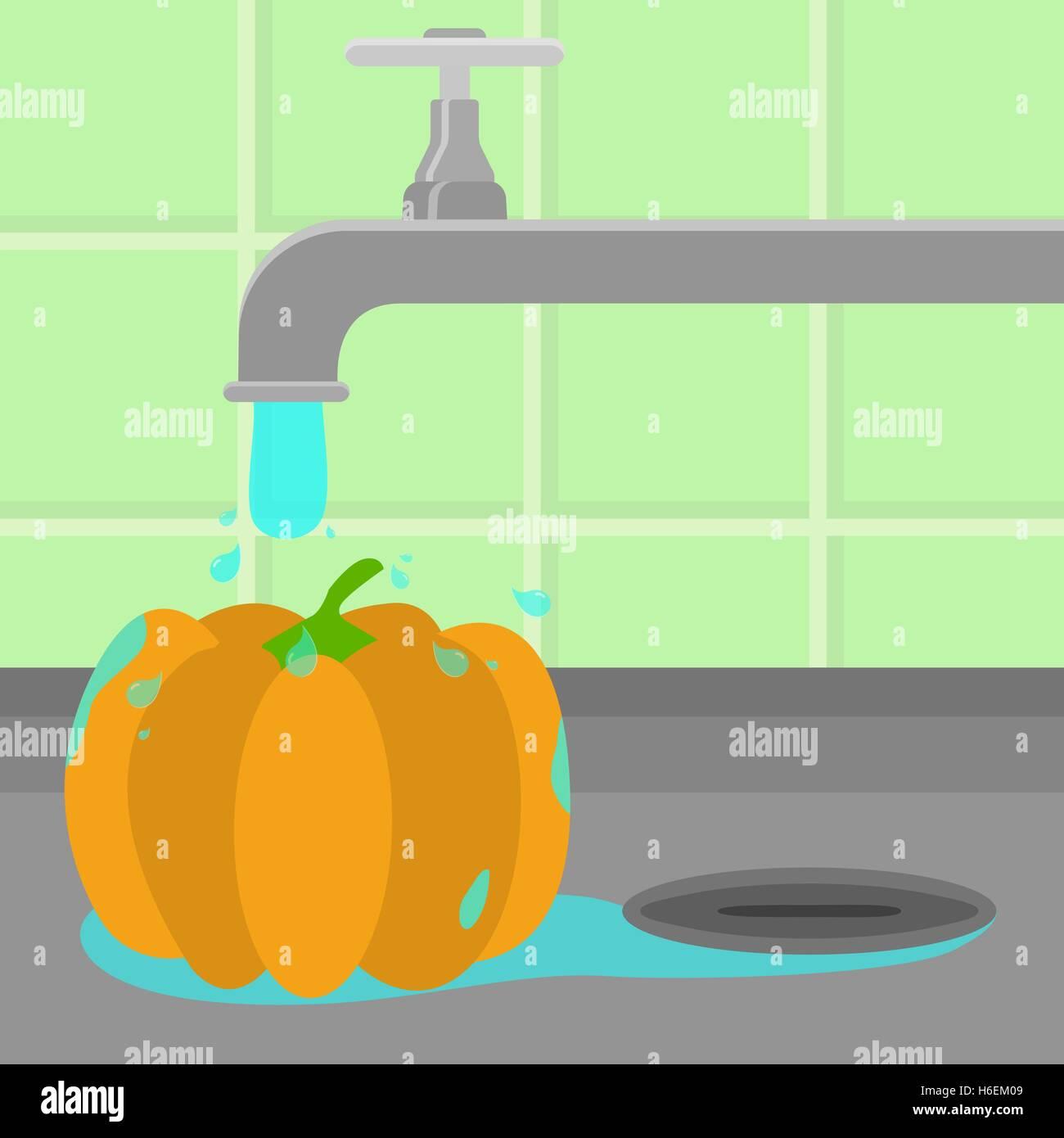 Pumpkin étant nettoyé et lavé dans un évier dans une cuisine. L'eau courante. Photo Stock