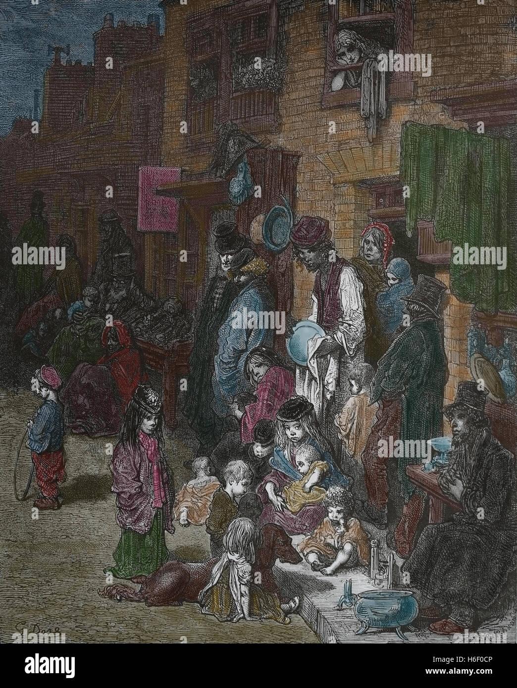 United Kingdom. Londres. Whitechapel. Quartier de la classe ouvrière. Gravure de Gustave Dore, Londres; Photo Stock
