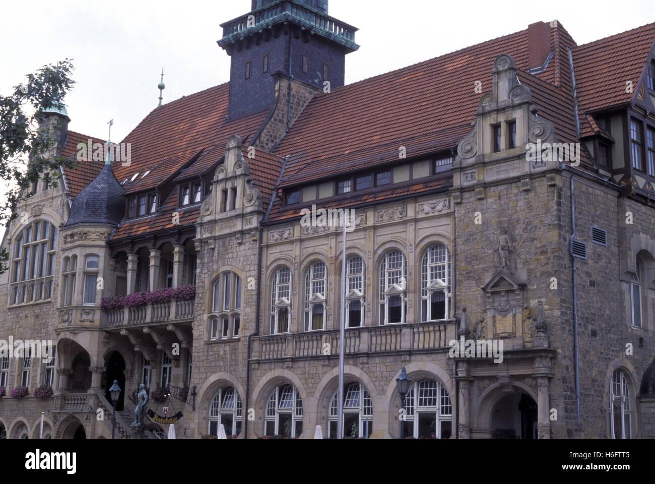 Allemagne, Basse-Saxe, Rinteln, l'hôtel de ville. Banque D'Images