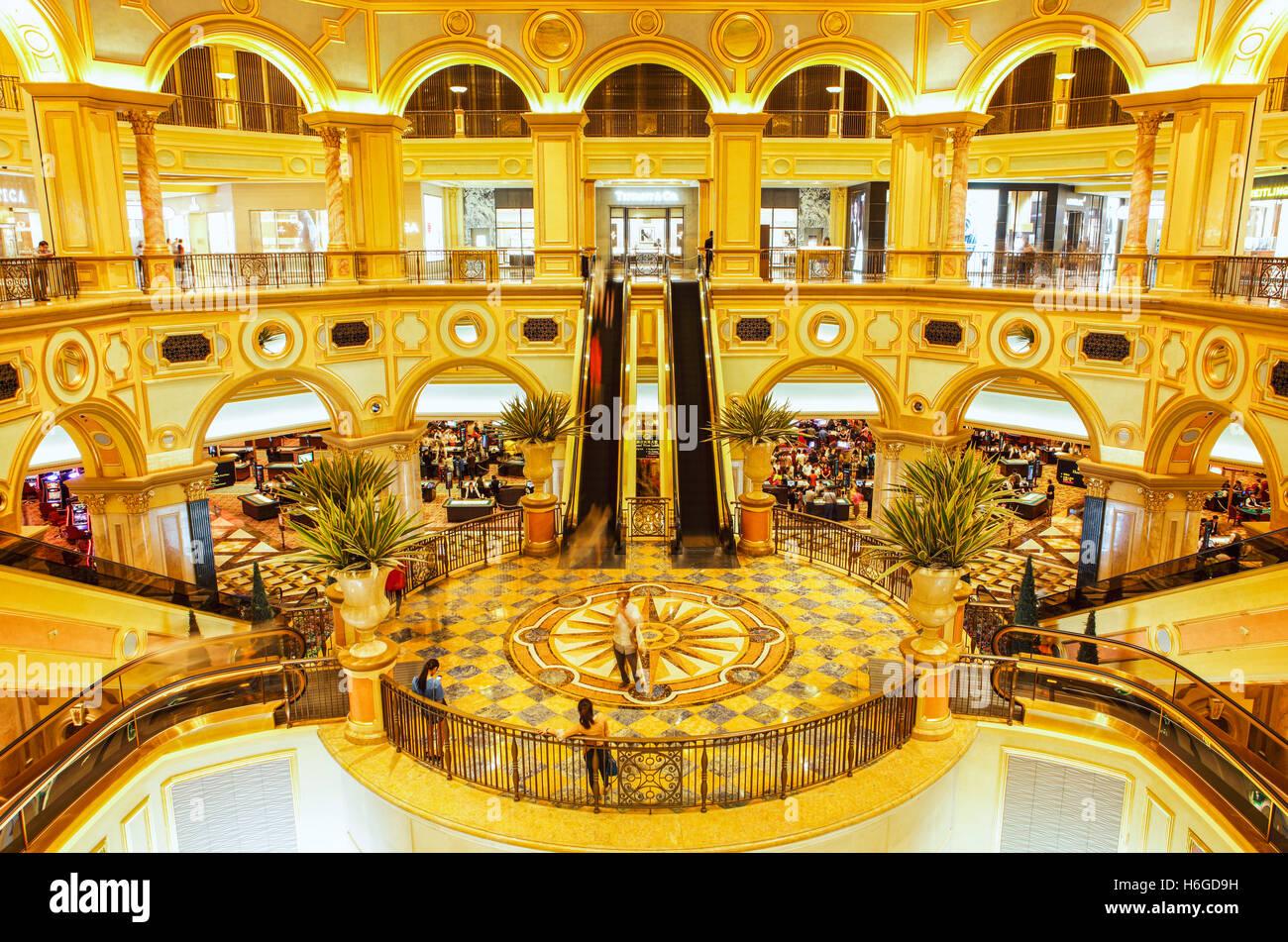 Le grand hall de l'hôtel et casino de Venise, Cotai, Macao. Photo Stock