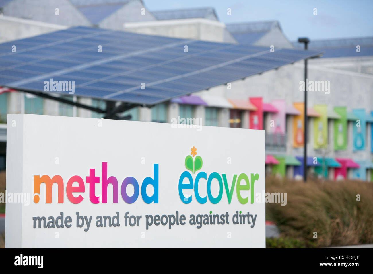 Un logo affiche à l'extérieur de la méthode et de l'usine Ecover dans le Pullman près Photo Stock