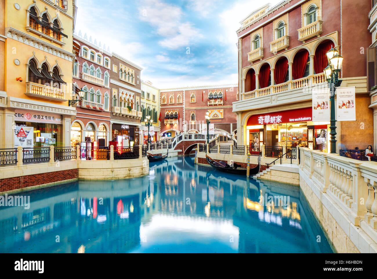 Le Grand Canal Shoppes à l'intérieur de l'hôtel vénitien, Cotai, Macao. Photo Stock