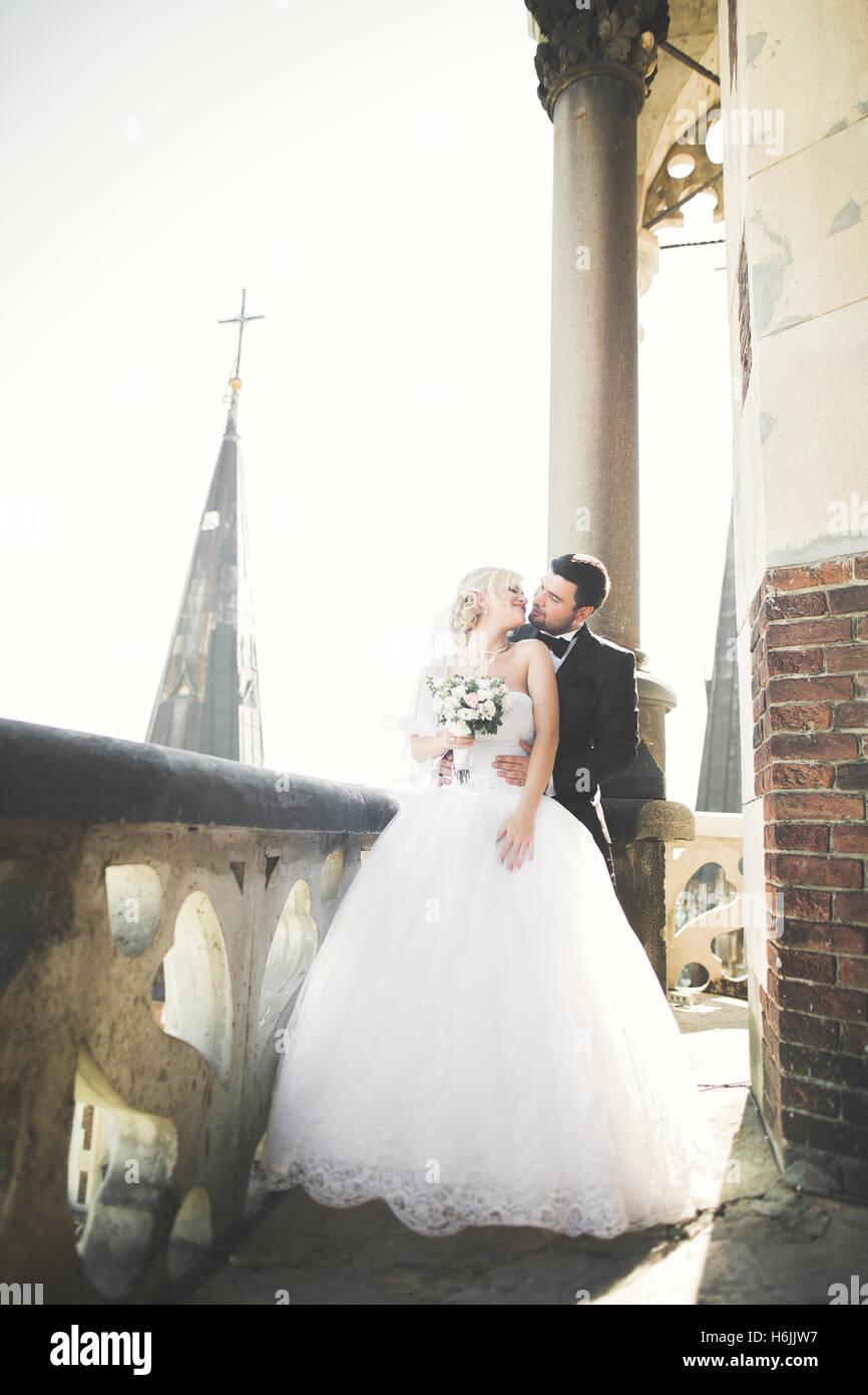 Kissing wedding couple séjournant plus beau paysage Photo Stock