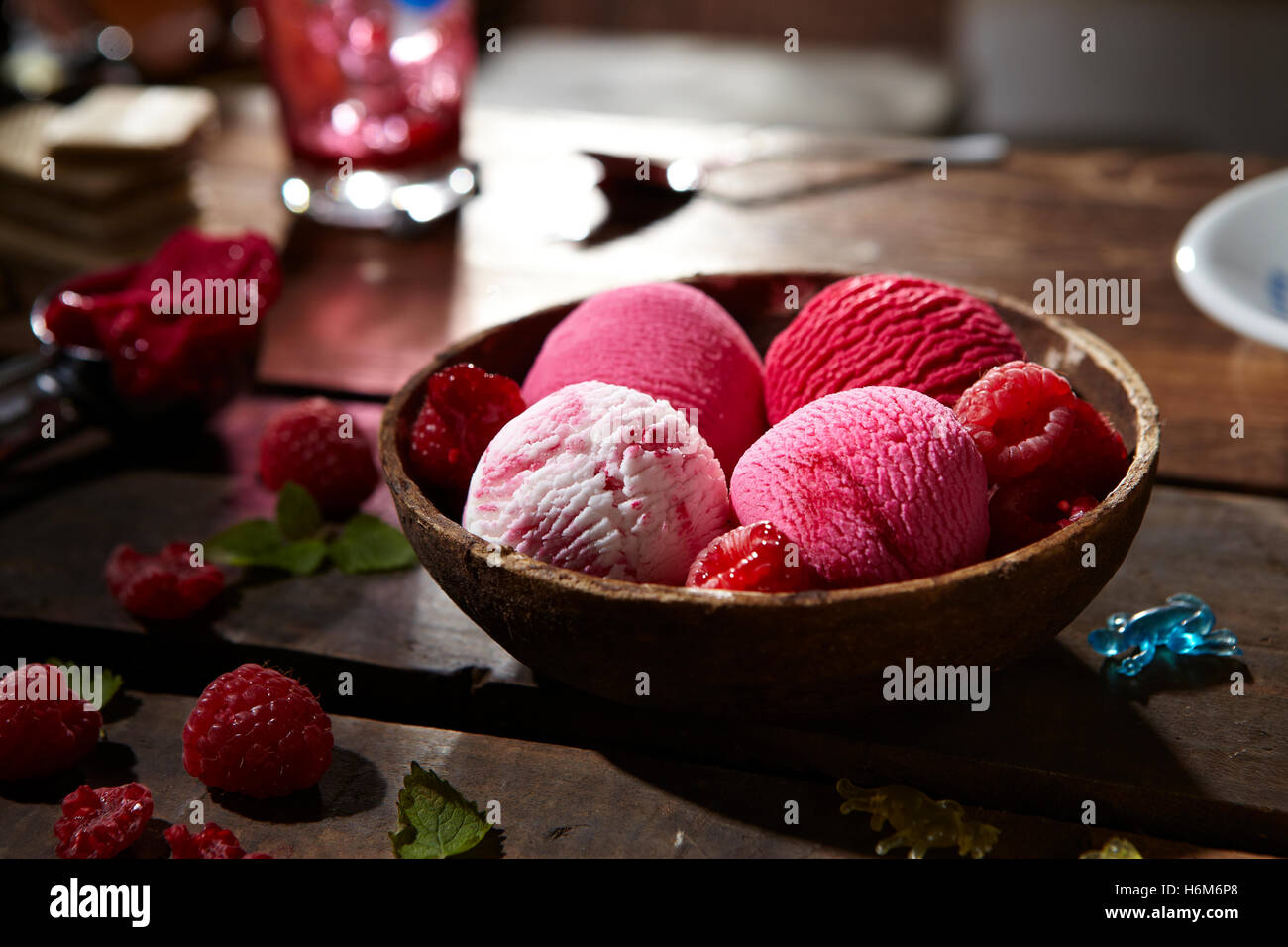 Fraise et glace vanille Photo Stock