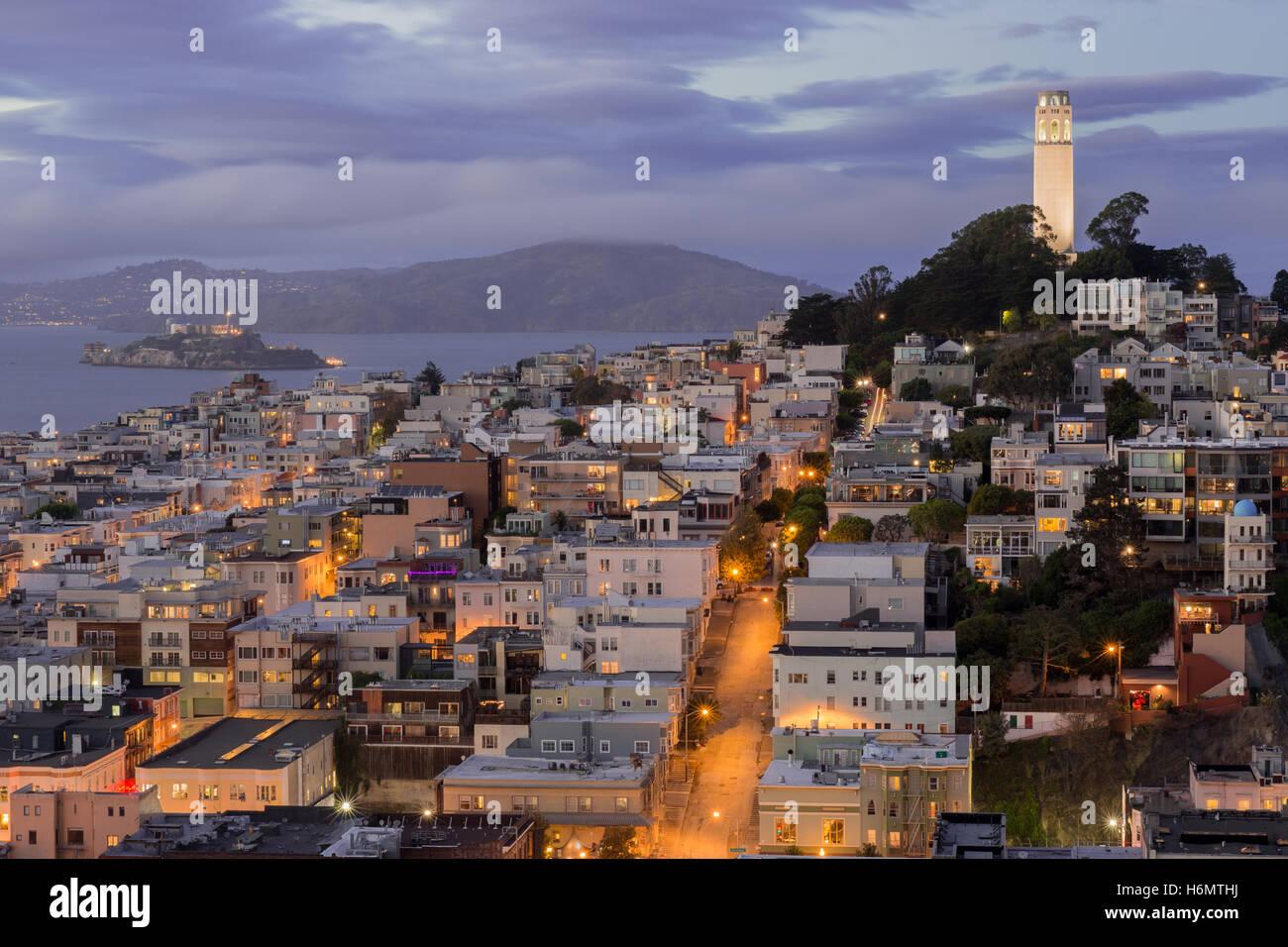 Telegraph Hill et les quartiers de North Beach Photo Stock