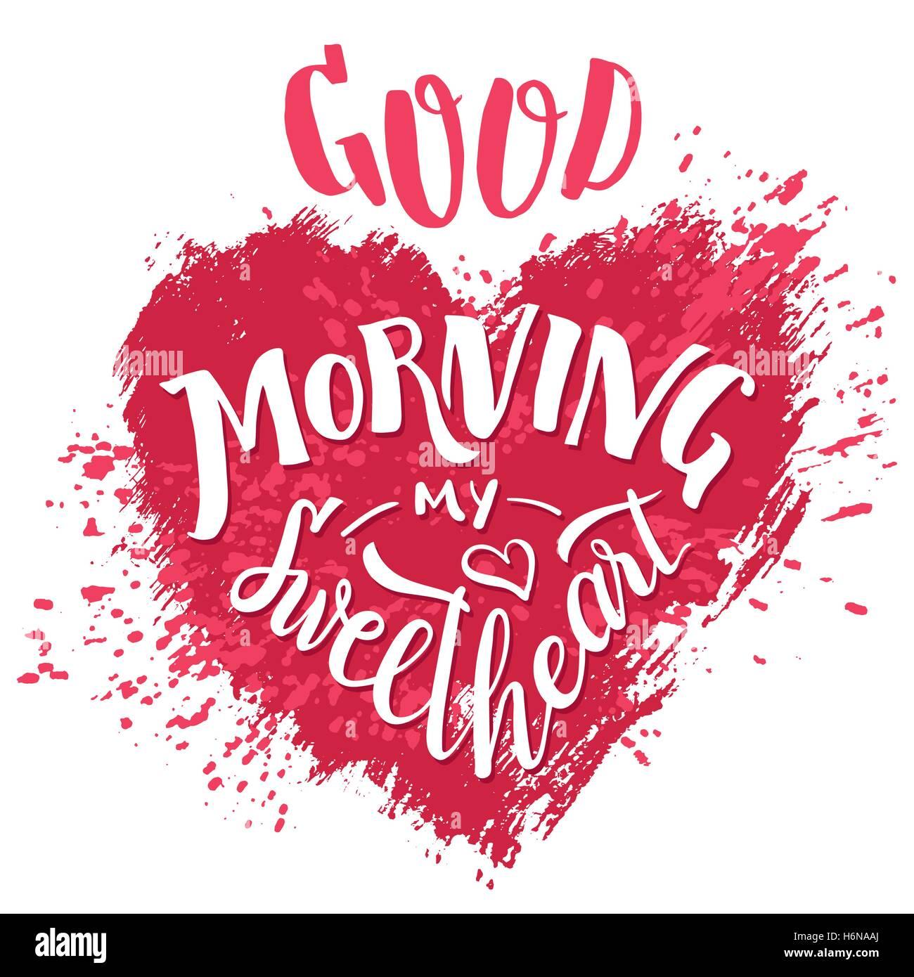 Bonjour Ma Chérie Lettrage Main Valentines Day Carte De
