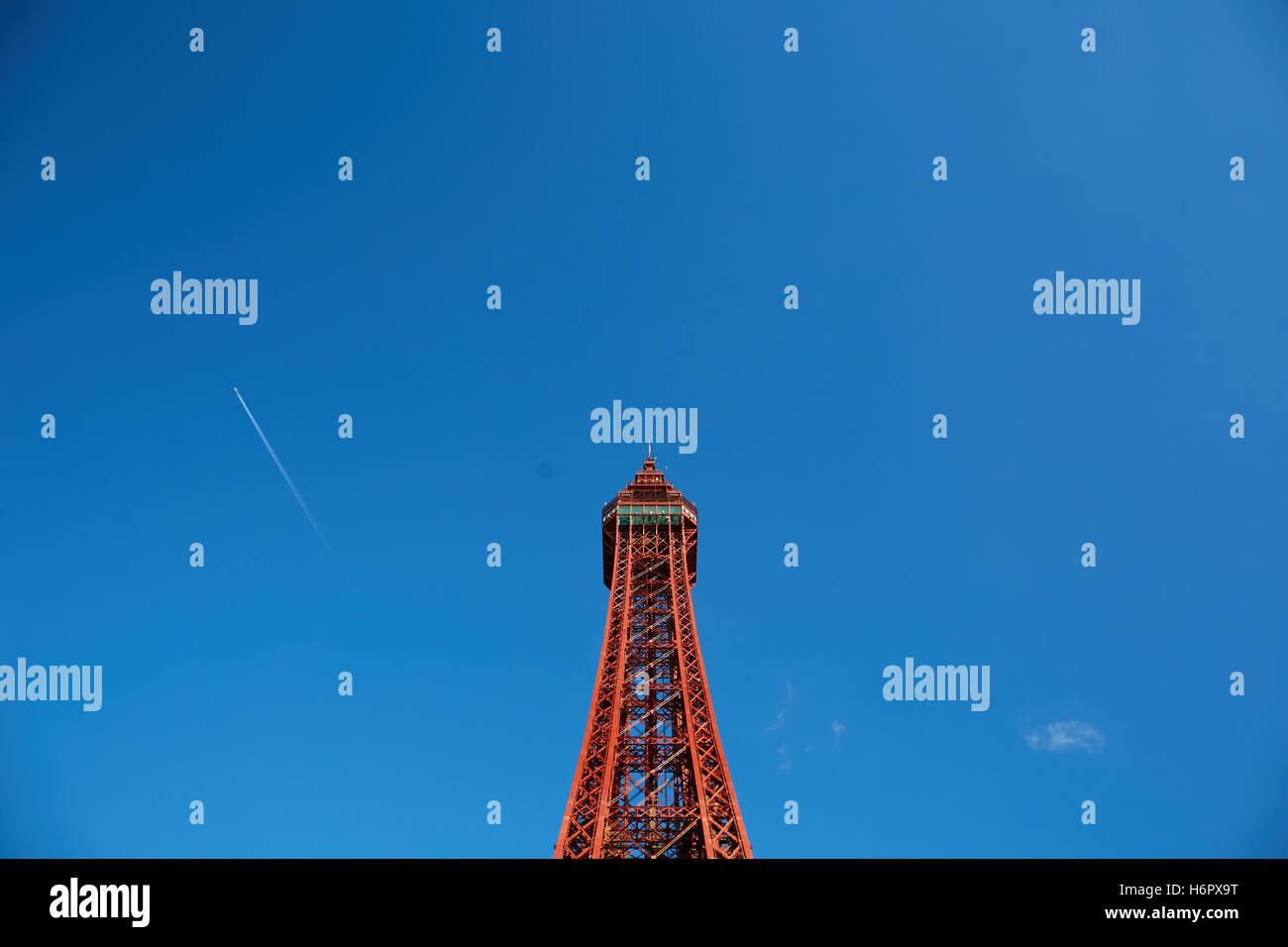 Structure de la Blackpool Tower vue Maison de ville resort attractions touristiques de Lancashire copyspace tour Photo Stock