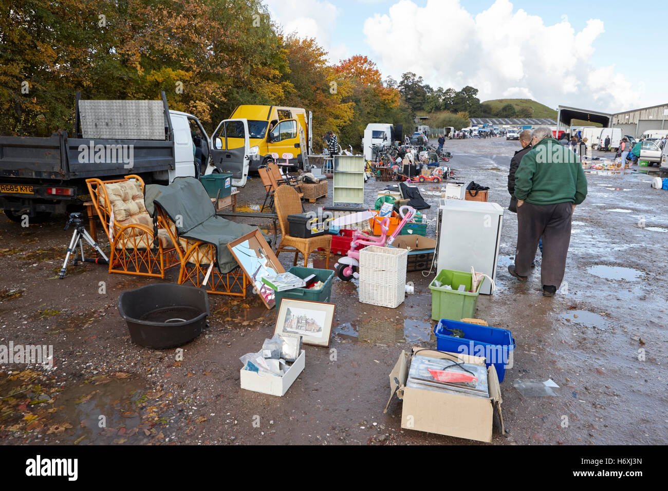 Car Boot Sale dans une zone rurale en Angleterre Photo Stock