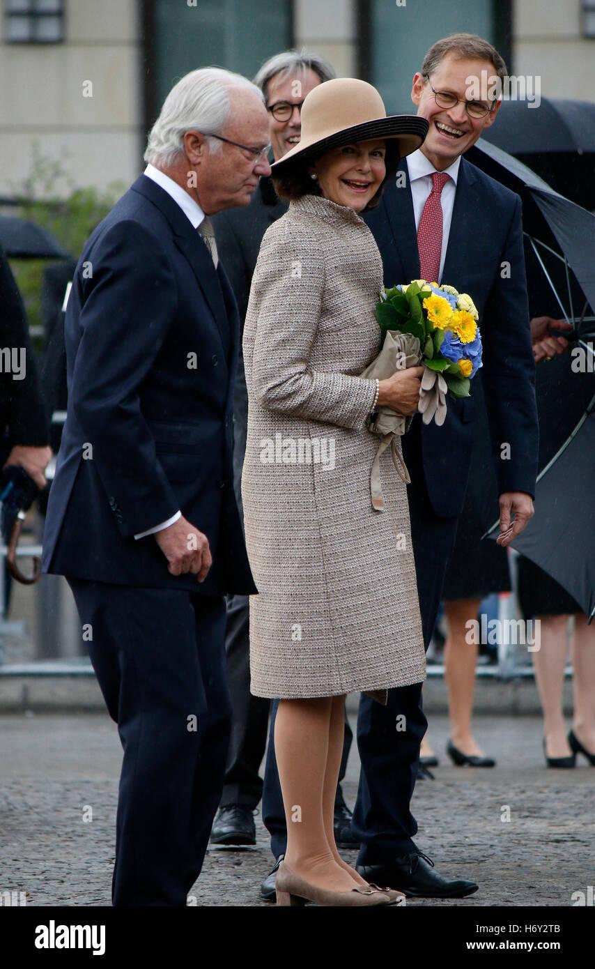 Koenig Carl XVI. Gustaf von Schweden, Koenigin Silvia von Schweden, Michael Mueller u.a. - Treffen des Berliner Oberbuergermeist Banque D'Images