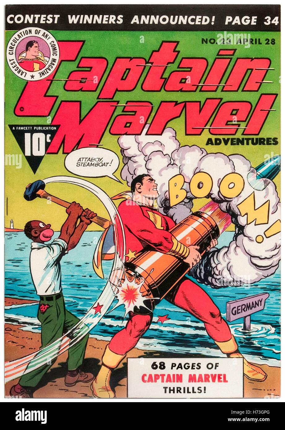 Captain Marvel Adventures Numéro 23 avril 1943, avec couverture par C. C. Beck (1910-1989) publié par Photo Stock