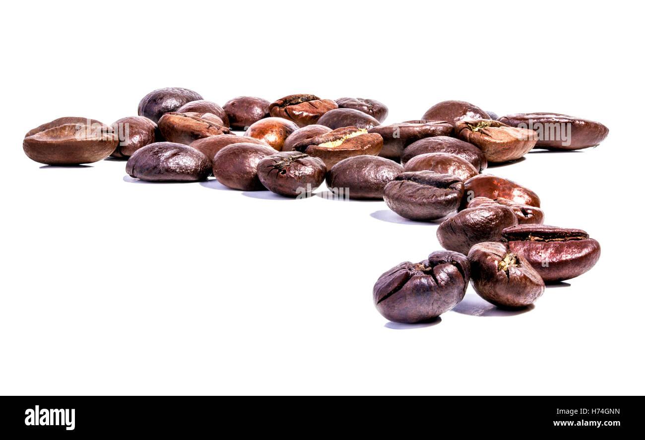Grain de café avec fond blanc Photo Stock