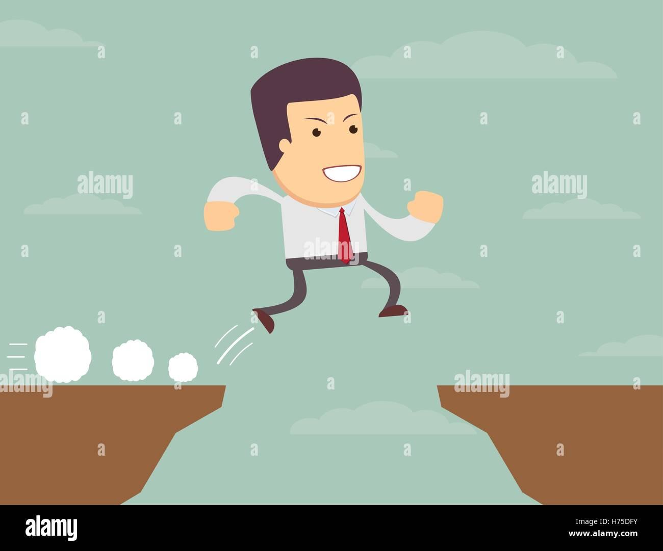 Homme d'affaires est saute au-dessus de l'abîme. Illustration de Vecteur