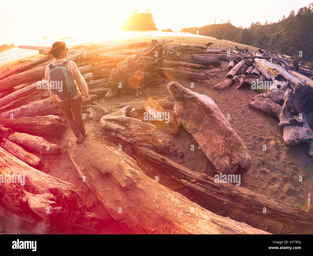 Femme debout sur un journal, sur la plage, la peluche, Washington, l'Amérique, USA Photo Stock