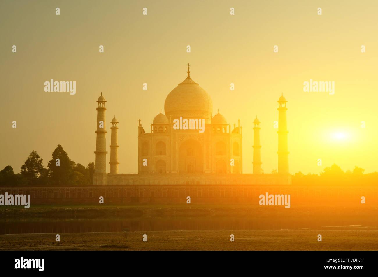 Taj Mahal coucher du soleil Photo Stock