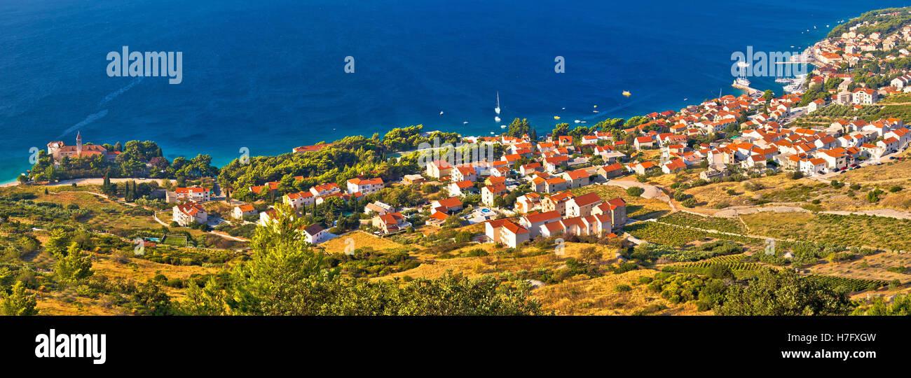 Bol, sur l''île de Brac vue panoramique vue aérienne Photo Stock