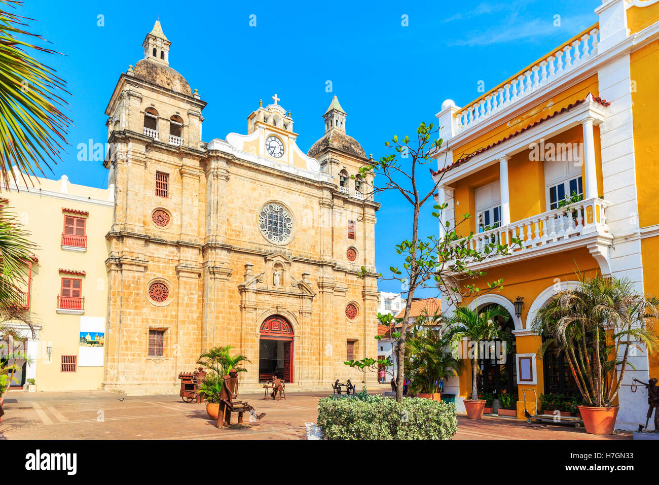 Eglise Saint Pierre Claver à Carthagène, Colombie Photo Stock