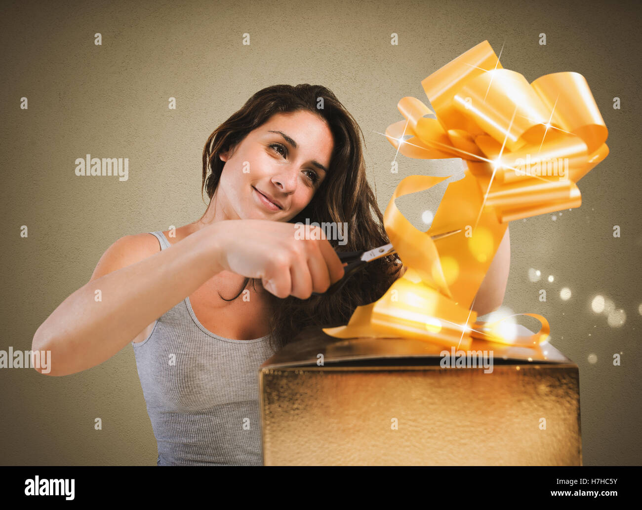 Préparer des cadeaux de Noël Photo Stock