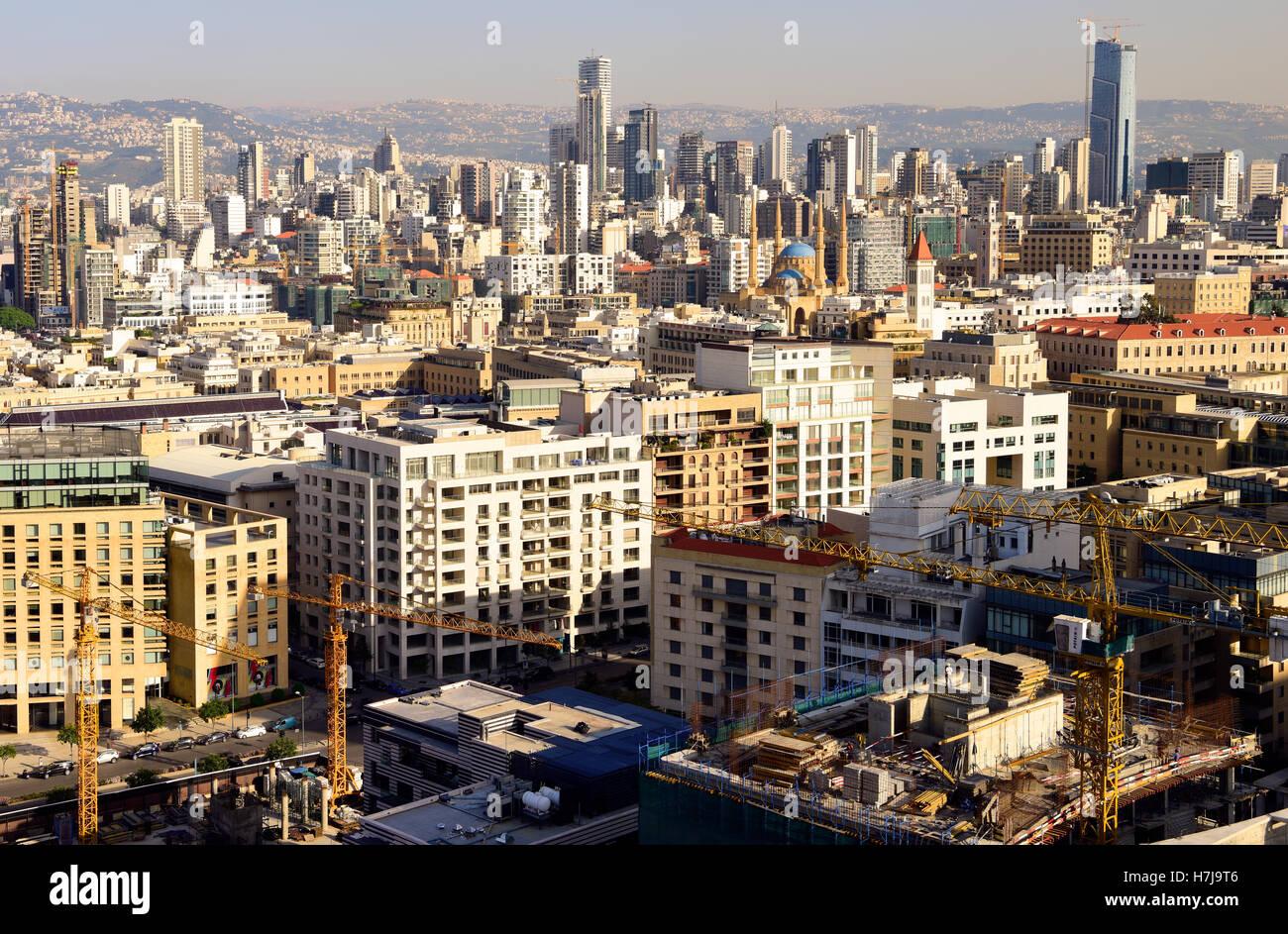 Vue générale sur la capitale Beyrouth, Liban. Photo Stock