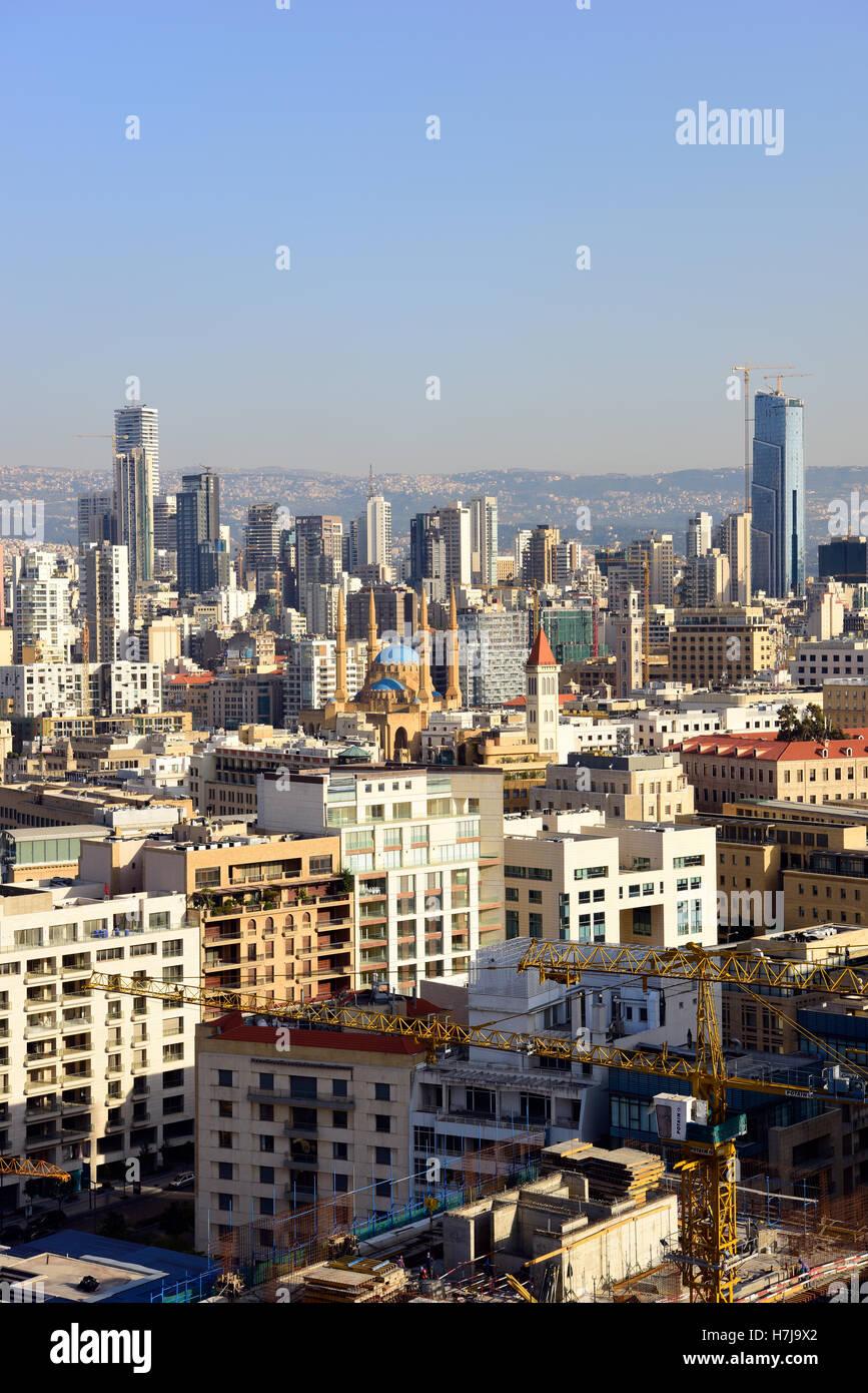 Vue générale sur Beyrouth, Beyrouth, Liban. Photo Stock