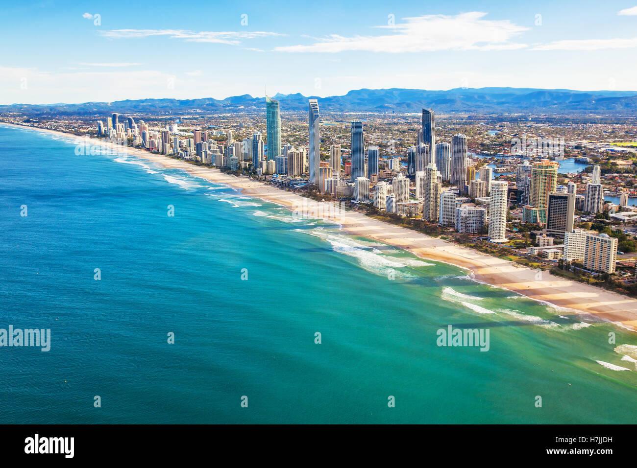 Vue aérienne de Surfers Paradise sur la Gold Coast, Queensland, Australie Photo Stock