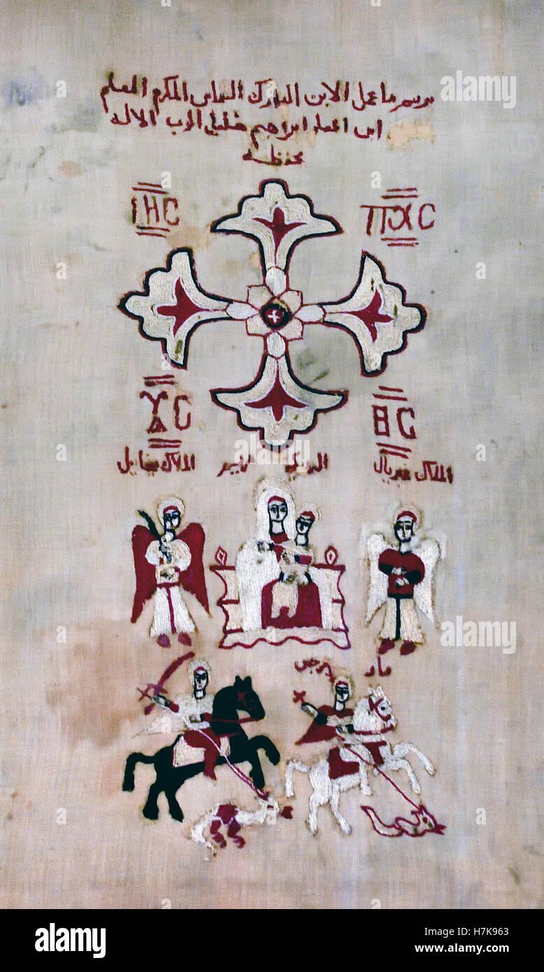Couverture avec des signes de magie égyptienne l'Egypte 15ème siècle ( la fin de l'Antiquité Photo Stock