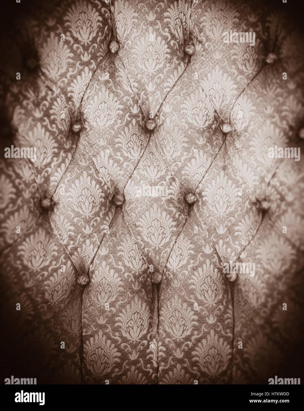 Chaise Vintage tissu en close up. Motif de textile. De vieux meubles avec motif. Banque D'Images