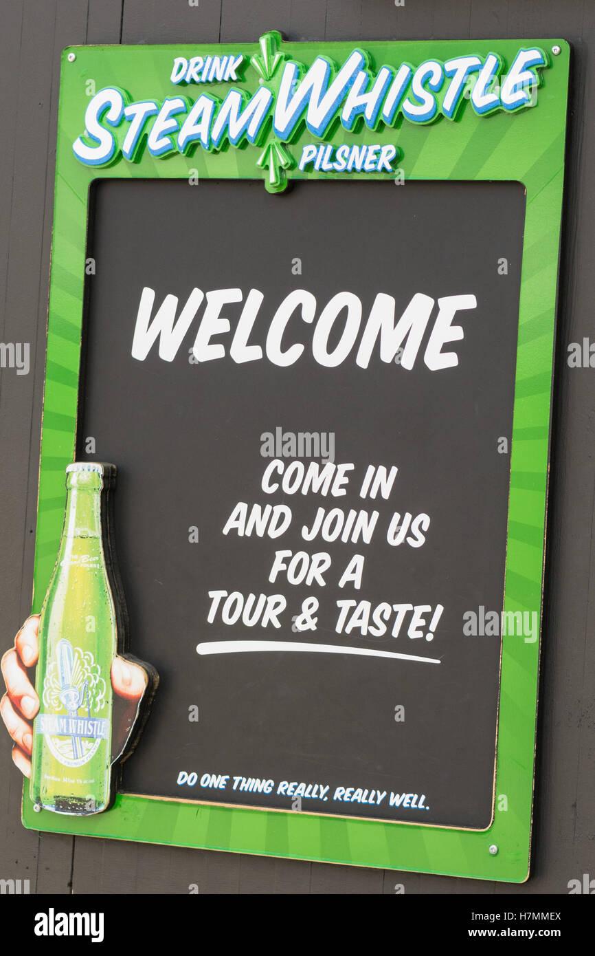 La bière Pilsner Steam Whistle, d' goût affiche publicitaire, Toronto, Ontario, Canada Photo Stock