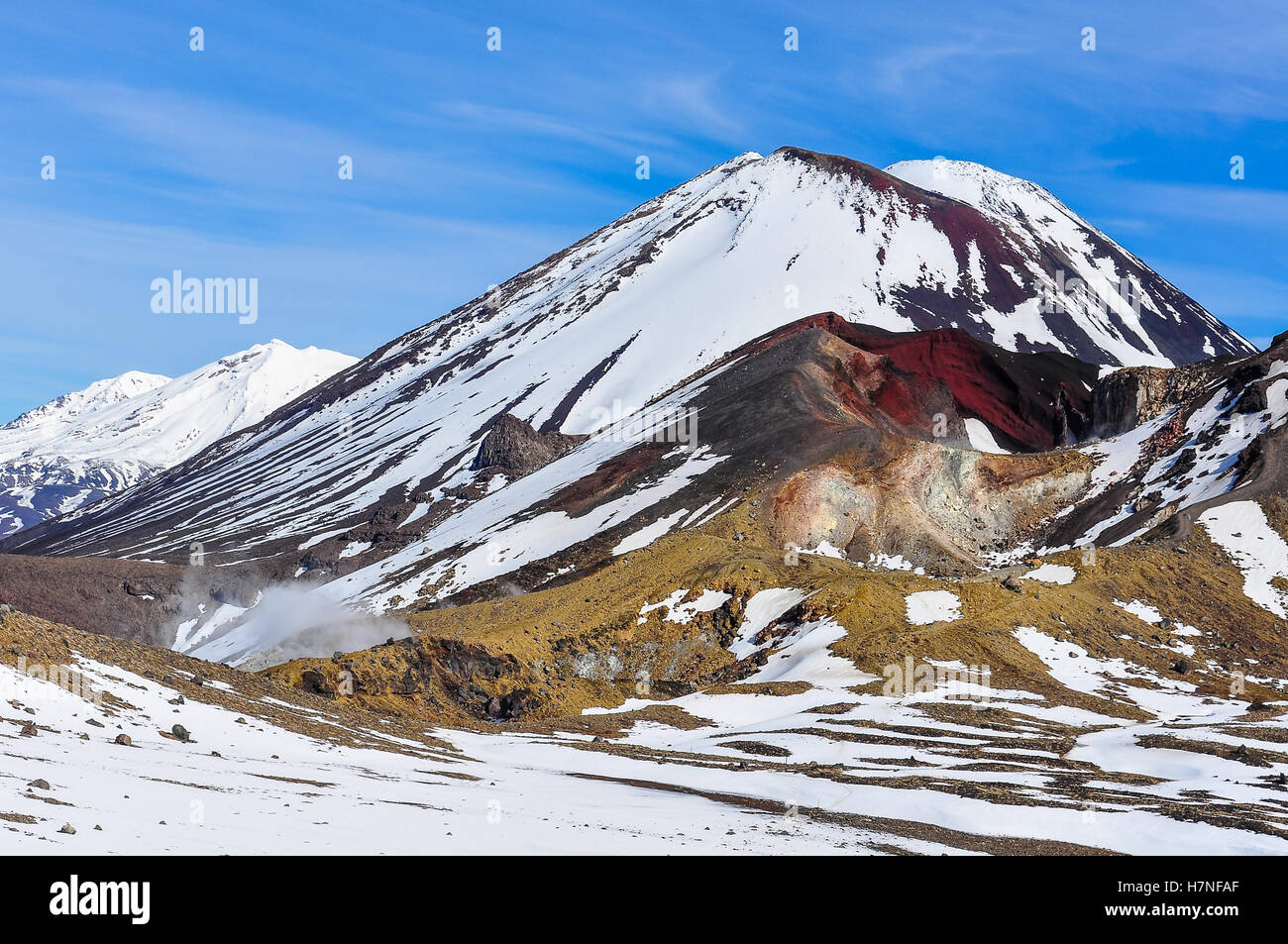 Couleurs intenses de cratère rouge à l'hiver Alpin Tongariro Crossing, New Zealand Photo Stock