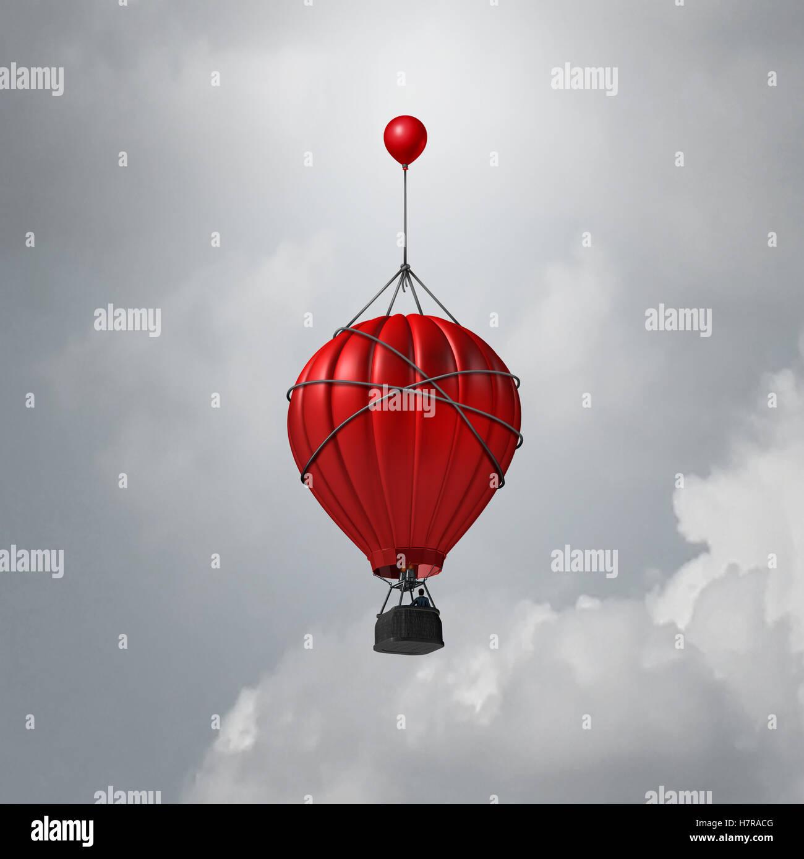 Idée d'appui aux entreprises comme un ballon à air chaud de l'aide pour élever par un plus Photo Stock