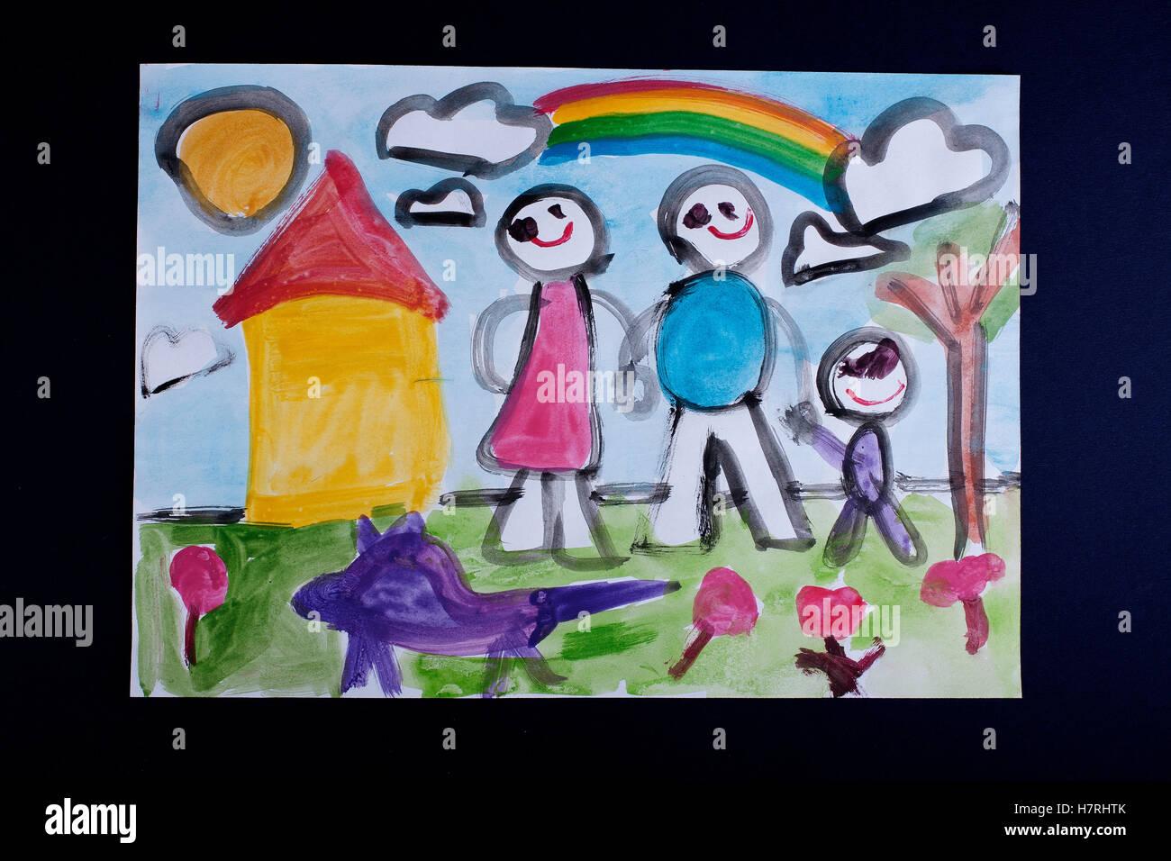 Enfants Peinture Dessin Et Collage Papier Coloré Avec De