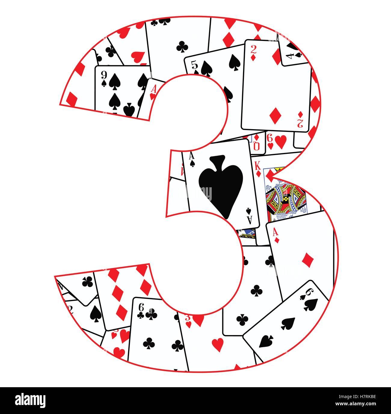 Cartes à jouer dans un ordre aléatoire d'arrière-plan pour le nombre 3 Photo Stock