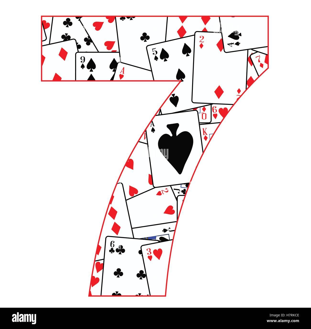 Cartes à jouer dans un ordre aléatoire d'arrière-plan pour le nombre 7 Photo Stock